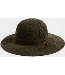 mona open weave floppy hat - olive