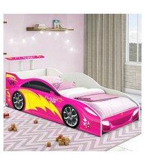 cama carrinho solteiro rosa casah