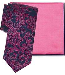 2-piece cotton & silk-blend pocket square & embroidered paisley silk tie set