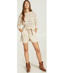 motivi shorts in tela donna beige