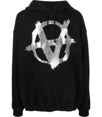vetements logo-print cotton hoodie