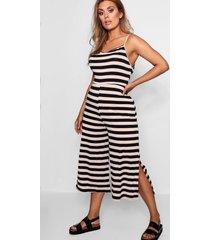 plus striped culotte jumpsuit, nude