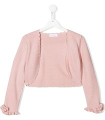 mimilù ruffled cuff scalloped cardigan - pink