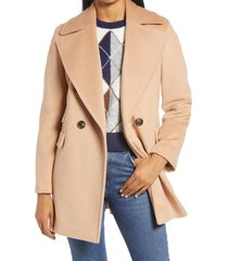 women's halogen x atlantic-pacific double breasted wool blend coat, size large - brown