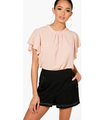 woven frill sleeve and neck blouse, nude