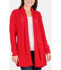 ny collection multi-textured shawl collar cardigan