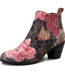 socofy folkways bloom flower pattern panno di velluto slip on elastic band comodo stivaletto