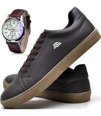 sapatênis sapato casual com relógio zaru t10mr marrom