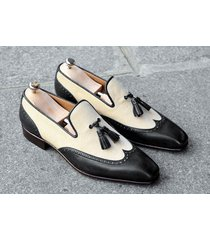 handmade fashion loafer leather shoes wingtip black dress causal tassel shoes