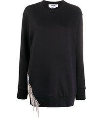 msgm crystal fringe sweatshirt - black