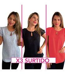 blusa chalis para mujer - boleros en los hombros - elegante  x 3 - horma suelta - colores surtidos - canela