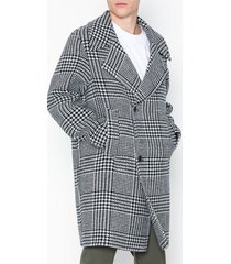 topman blk/wht chk overcoat jackor white