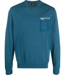 diesel k-navajo chest pocket sweatshirt - blue