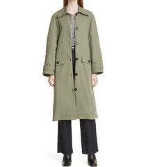 baum und pferdgarten denelia cotton blend trench coat, size 8 us in army green at nordstrom