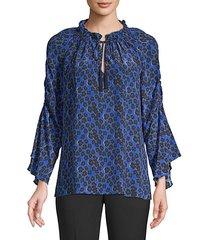 larsen floral silk blouse