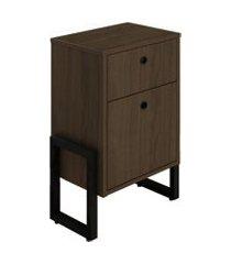 mesa de cabeceira wooli 2 gavetas castanho - fit mobel