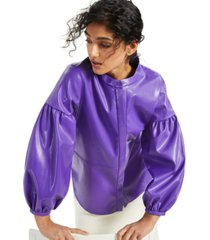 alfani mandarin-collar faux-leather blouse, created for macy's