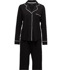 dkny new signature l/s top & pant pj set pyjamas svart dkny homewear