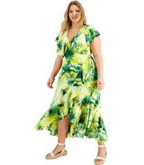 inc plus size ruffle-trim wrap dress, created for macy's