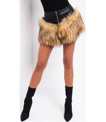 akira katie overlay faux fur mini skirt
