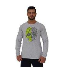 camiseta manga longa moletinho mxd conceito caveira matagal masculina
