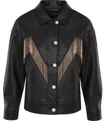 leren fringe jacket zwart