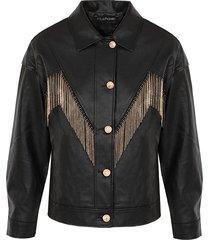 oversized leren fringe jacket zwart