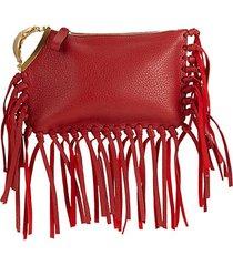 fringe leather clutch