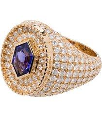 o thongthai 14kt yellow gold fancy cut tanzanite/diamond ring