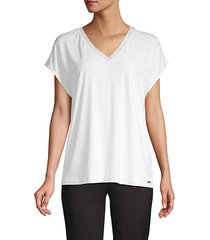metallic-trim v-neck tee