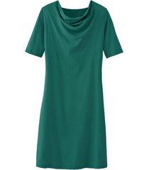 jurk met vrouwelijke watervalhals van bio-katoenen jersey, oregano 40