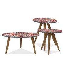 kit com mesa de centro e mesas laterais lyam decor retrô vermelho