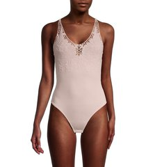 free people women's lea floral embroidery bodysuit - pearl pink - size l