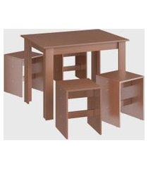 conjunto mesa 4 banquetas ceramic móveis cançáo marrom