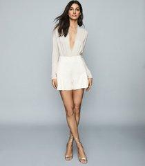reiss rosalba - long sleeved plunge bodysuit in silver, womens, size xl