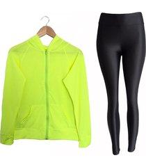 conjunto deportivo legging  lycra y chaqueta deportiva