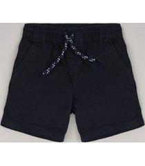 bermuda de sarja infantil com cordão e bolsos azul marinho