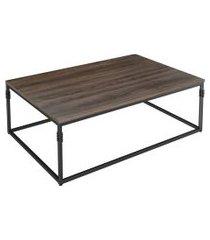 mesa de centro retangular aline marrom e preta