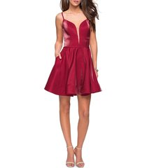 women's la femme satin fit & flare cocktail dress