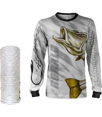 camisa máscara pesca quisty robalo arisco branco proteção uv dryfit infantil/adulto - camiseta de pesca quisty