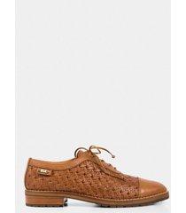 zapatos cordón oxford de cuero grabado