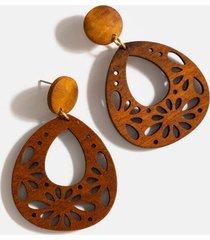 ailani wood teardrop earrings - brown