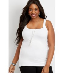 maurices plus size womens basic square neck tank top white