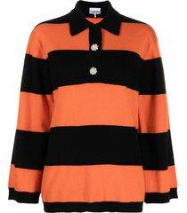 ganni horizontal-stripe knitted polo top - orange
