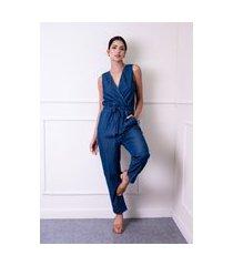 macacão sem manga sisal jeans acinturado azul