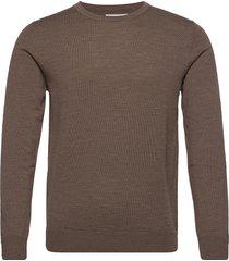 jjemark merino knit crew neck noos stickad tröja m. rund krage grå jack & j s