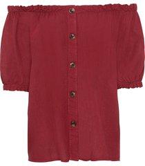 camicetta in misto lino con scollo a barca (rosso) - bodyflirt