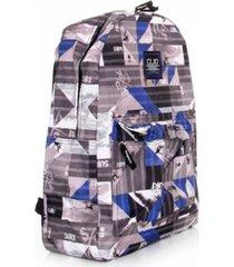 mochila style college cinza e azul - clio style - multicolorido - dafiti