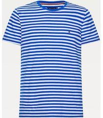 camiseta de corte slim en algodón elástico azul tommy hilfiger