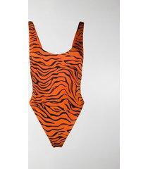 reina olga tiger print one-piece swimsuit